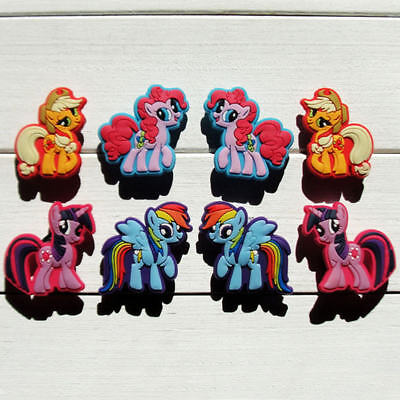 8 New My Little Pony jibbitz crocs shoe charms hair loom wrist band cake toppers