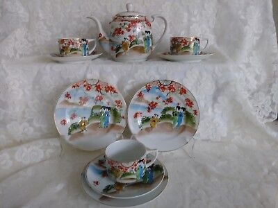 Vintage Hand Painted 10 pc Japanese Lithopane Geisha Girl Tea Set