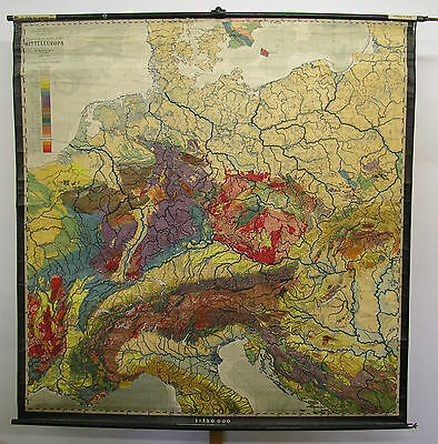 Schulwandkarte Beautiful Old Mitteleuropakarte Geology 201x203 Vintage~1938