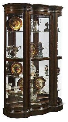 PULASKI Curved Front Curio Cabinet - Lighted Interior with Mirrored Back