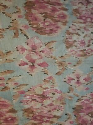 Antique French Cotton C.1910. Charming pink rosebushes in shades 2 dream about!!