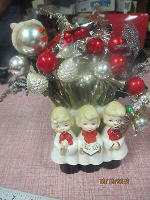 Vintage Christmas Choir Girls Ceramic Planter with Red and Silver Arrangement