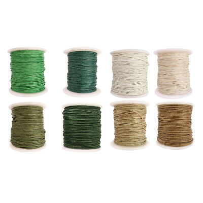 8 Roll of 80m Waxed Cotton Cord String for DIY Necklace Bracelet Beading 1mm