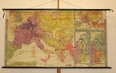 Wall Map ~ 1956 Karl the Great 206x113 Charles the Great Vintage School Wall Map