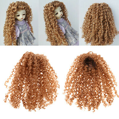 1/6 BJD Doll Curly Wig Brown Hair for LUTS MSD AOD SD DIY Hairpiece Making