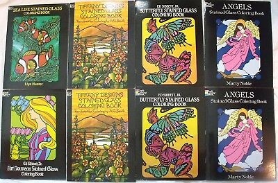 Lot 8 Dover Coloring Books Stained Glass Sea Animals Butterflies Angels Tiffany