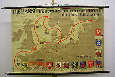 Schulwandkarte Wall Map Europa Hanseatic League Cog (Ship) Medieval City Emblem