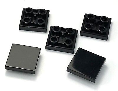 Lego Lot of 5 New Black Tiles Modified 2 x 2 Flat Smooth Inverted Parts Pieces
