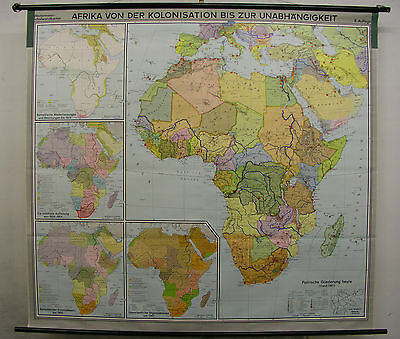 Schulwandkarte Wall Map School Map Map Africa from Colonies to 1967 206x188cm