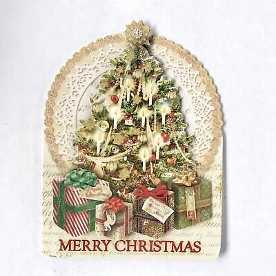 punch studio 10 christmas cards old world tree embellished 3d dimensional