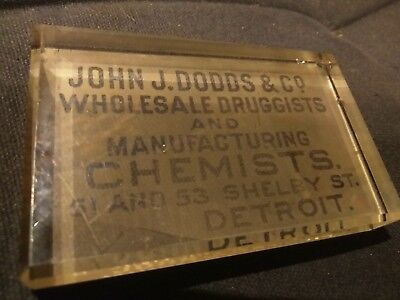 Antique DRUGGISTS & CHEMISTS DETROIT MI John J. Dodds & Co. Glass Paperweight