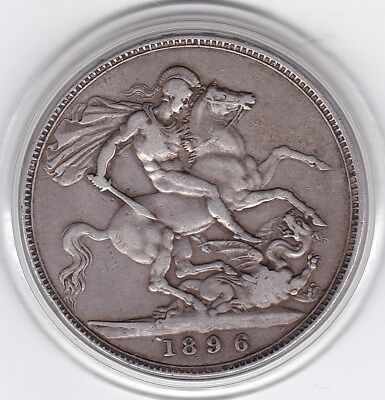 Sharp  1896  Queen  Victoria Large Crown / Five Shilling Silver British  Coin