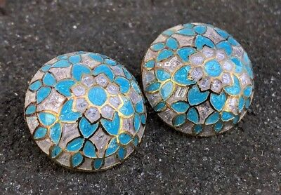 Vintage Old Chinese Gilt Gold Sterling Silver Blue & White Enamel Dome Earrings