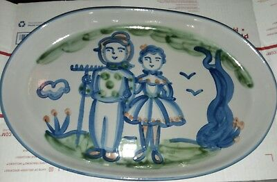 "M A Hadley Farmer & Wife Platter 18.25"" Pottery Stoneware Country Couple USA"