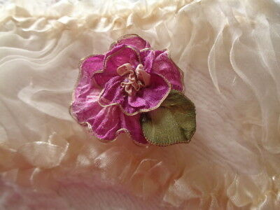 """1 5/8"""" Wild Rose Made With Rarest French Silk Ombre With Metallic Edge Beautiful"""