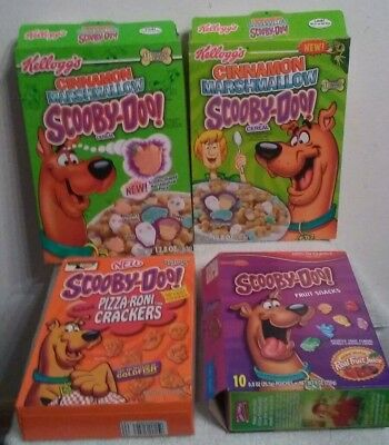 2- 2002 Scooby Doo Cereal , 2004 Scooby Fruit Snack & 2003 Cracker Boxes Empty