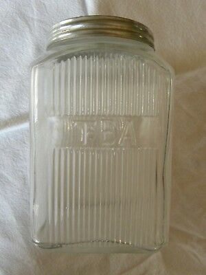 Vintage Hoosier Sellers Square Glass Ribbed Tea Canister Jar with Tin Lid