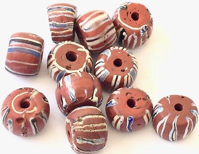 Fine old Venetian Antique Brick Red Wound African Glass Trade beads