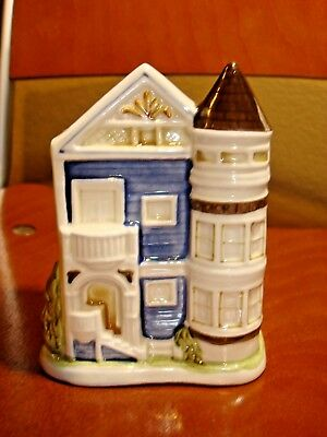 Vintage Otagiri Victorian Ceramic Blue House Japan