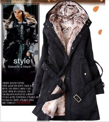 Ladies Fur Lining Coat Womens Winter Warm Thick Long Jacket Hooded Parka