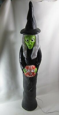 "Rare Vintage 36"" Halloween Blow Mold Skinny Witch with Pumpkin Don Featherstone"