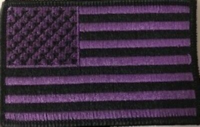 United States USA Flag Patch W/ VELCRO® Brand Fastener Purple & Black Version