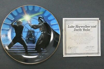 Luke Skywalker And Darth Vader Star Wars Collectors Plate Hamilton Collection