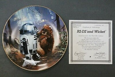 R2-D2 And Wicket The Ewok Star Wars Collectors Plate Hamilton Collection 1986