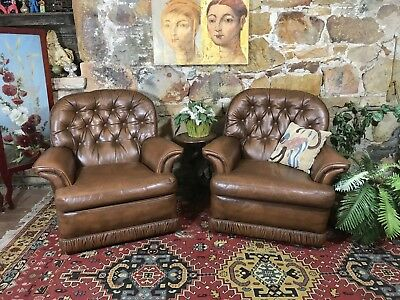 Pair Vintage Chesterfield Leather Tub,Armchair~Chairs~Tobacco Brown