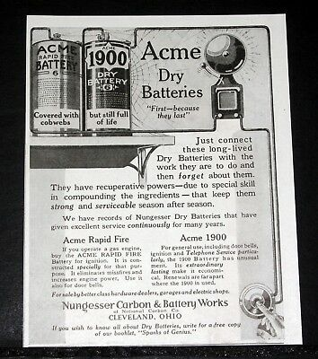 1916 Old Magazine Print Ad, Nungesser Carbon, Acme Dry Batteries Are Long-Lived!