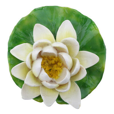 White Lotus Water Lily Floating Flower Pond Fish Tank Plant Decor S