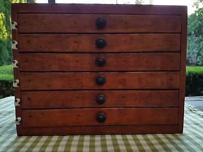 Unique Vintage Small Timber Box With 6 Draws Divided for Medical Storage Slides