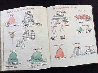 """Royal Navy """"Pilotage Notes"""" c1900 Midshipman's? Manuscript Book Well illustrated"""