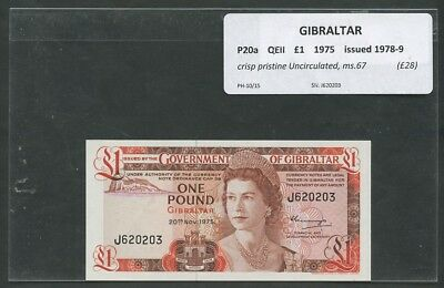 GIBRALTAR  QEII  £1  1975  P20a  Uncirculated  Banknotes