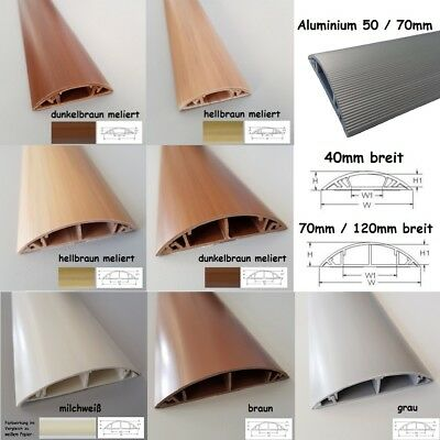 1m Floor Cable Channel PVC or Aluminium Self Adhesive in Various Widths