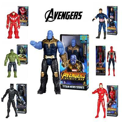 "12""Avengers Infinity War Black Panther Titan Hero Thanos Hulk Action Figure Toys"