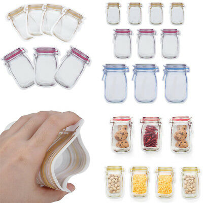3/4/10Pcs PE Zip Lock Pouches Food Storage Zipper Bags Smell Proof Bags Reusable