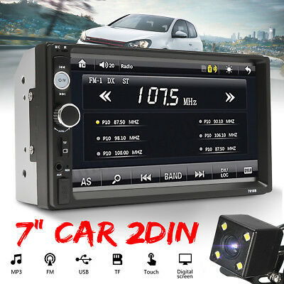 "7"" Double 2 Din Car Stereo Radio FM/MP5 Player Bluetooth HD Touch Screen + Cam"