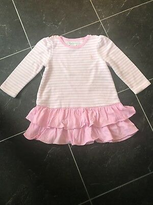 ralph lauren girls fleecy pink and cream striped dress,12 months, used great con