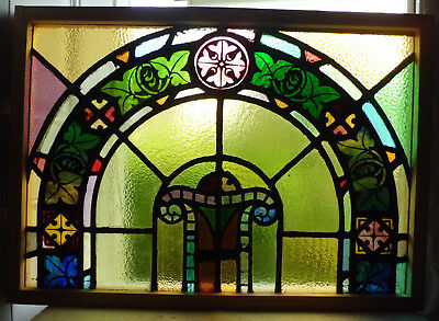 Antique Vtg Church Stained Glass Window Architectural Salvage Colorful Arch W14