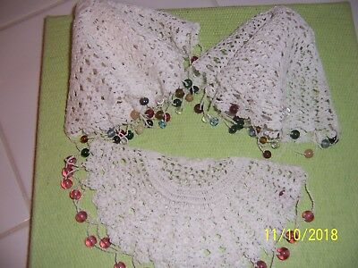 Vintage 3 Crochet Doilies Jug Covers With Glass  Beads