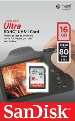 SanDisk 16GB Ultra SDHC SD Card Class 10 UHS-I Memory Card 80MB/S For Camera
