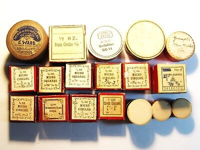 Antique boxes for cover glasses and filter, Zeiss, E. Ward, not microscope slide