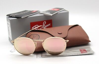 New Ray-Ban RB3447 112/Z2 Gold/Copper Flash (Pink) Round Sunglasses 50mm