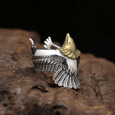 Unisex Adjustable Punk Style Eagle Bird Spread Wings Open Band Ring Jewelry 6A