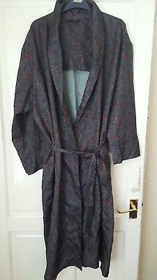Vintage Tootal Paisley Regency Smoking Jacket/ Dressing Gown Size L Belt VGC