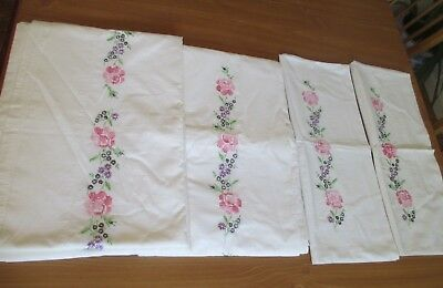 Vintage Embroidered Bed Sheet Set w/Pillowcases: Unused, Cotton