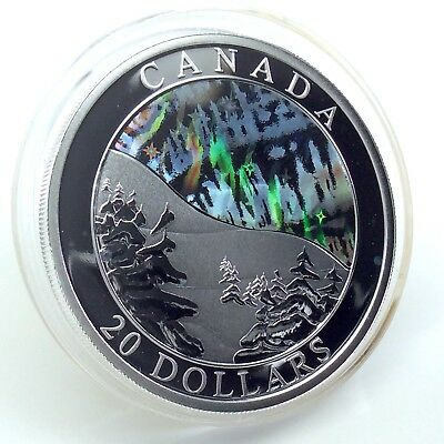 2004 Proof 20 Twenty Dollar Holographic Aurora Borealis Canadian Coin H213