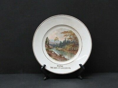 Laramie Wyoming, Antique Gem City Grocery Collector Plate & Stand - 1901-1930's