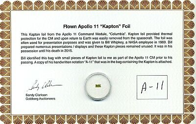 Apollo 11 - Gold Kapton Foil Flown to the Moon - On Beautiful COA - $39.95- NASA